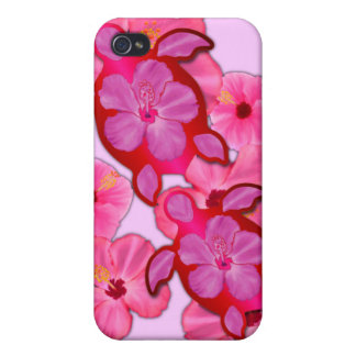 Pink Hibiscus And Honu Turtles iPhone 4/4S Covers
