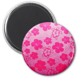 Pink Hibiscus And Honu Turtles Fridge Magnets