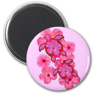 Pink Hibiscus And Honu Turtles Magnets