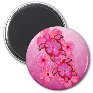 Pink Hibiscus And Honu Turtles Magnet