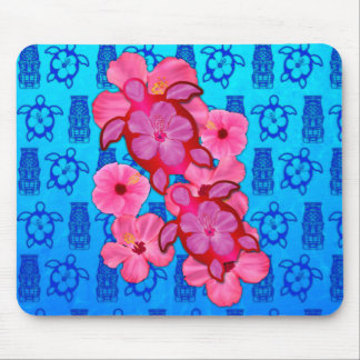 Pink Hibiscus And Honu Turtles Mouse Pad