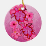 Pink Hibiscus And Honu Turtles Ornaments