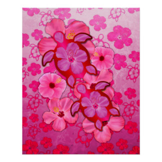Pink Hibiscus And Honu Turtles Perfect Poster