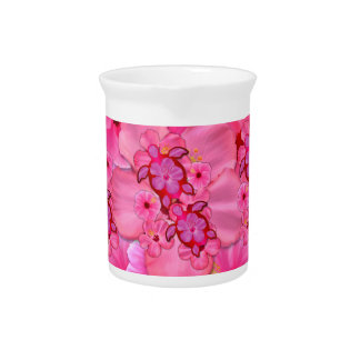 Pink Hibiscus And Honu Turtles Pitcher