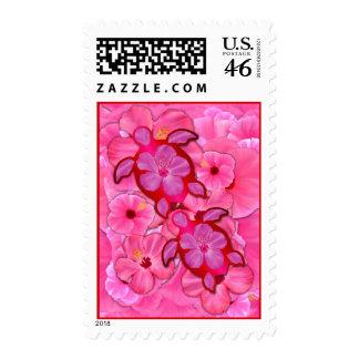 Pink Hibiscus And Honu Turtles Postage