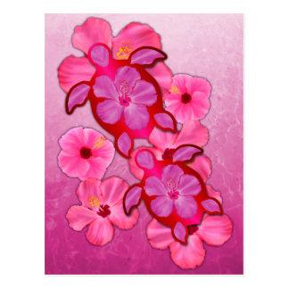 Pink Hibiscus And Honu Turtles Postcards