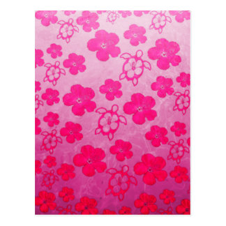 Pink Hibiscus And Honu Turtles Post Card