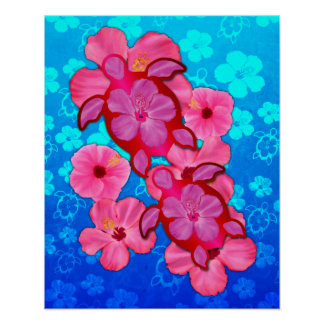 Pink Hibiscus And Honu Turtles Poster