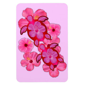 Pink Hibiscus And Honu Turtles Rectangle Magnets