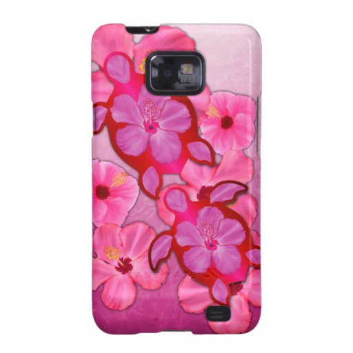 Pink Hibiscus And Honu Turtles Samsung Galaxy S2 Cases