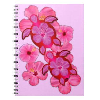 Pink Hibiscus And Honu Turtles Spiral Notebook
