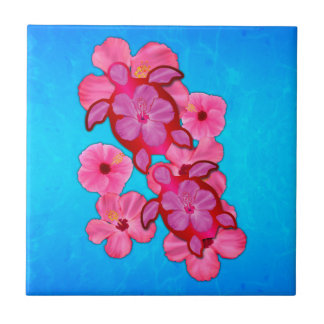 Pink Hibiscus And Honu Turtles Small Square Tile