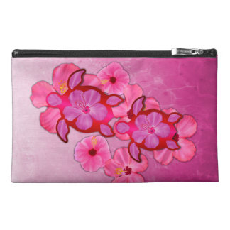 Pink Hibiscus And Honu Turtles Travel Accessory Bag