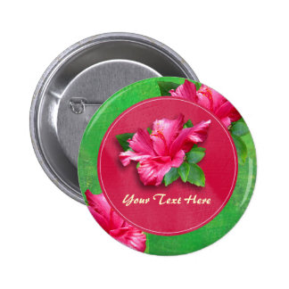 Pink Hibiscus Birthday Luau Buttons