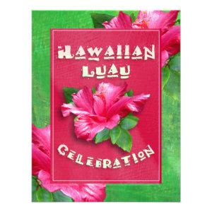 Pink Hibiscus Birthday Luau Invitations