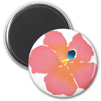Pink Hibiscus Blossom 2 Inch Round Magnet