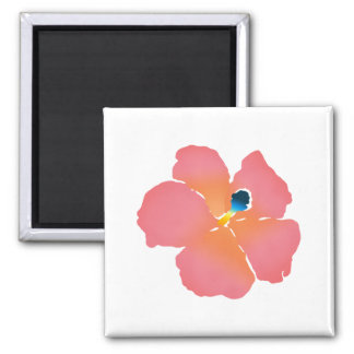 Pink Hibiscus Blossom 2 Inch Square Magnet