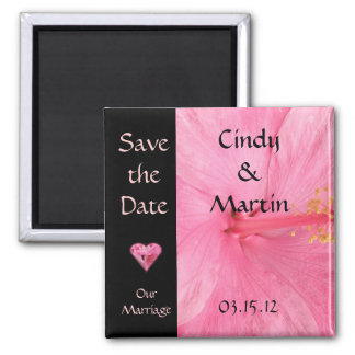 Pink Hibiscus Blossom Wedding Save The Date Magnet