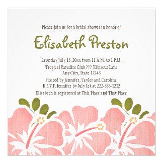 Pink Hibiscus Bridal Shower Invitations