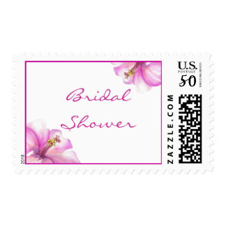 Pink Hibiscus Bridal Shower stamps