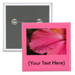 Pink Hibiscus Button