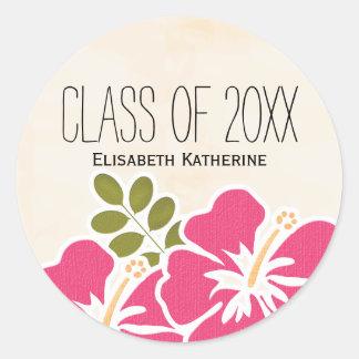Pink Hibiscus Class of Hawaiian Graduation Party Classic Round Sticker