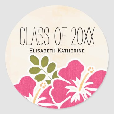 Beach Themed Pink Hibiscus Class of Hawaiian Graduation Party Classic Round Sticker