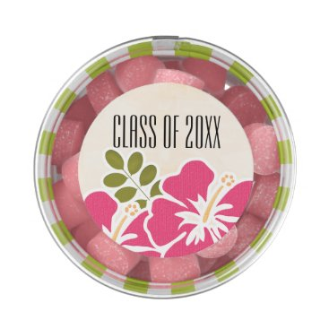 Beach Themed Pink Hibiscus Class of Hawaiian Graduation Party Gum