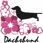 Pink Hibiscus Dachshund Embroidered Hoodie