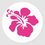 Pink Hibiscus Design Classic Round Sticker