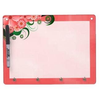 Pink Hibiscus Dry-Erase Board Horizontal 4 Hooks