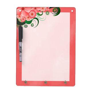 Pink Hibiscus Dry-Erase Board Vertical 4 Hook Pen