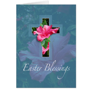 Pink Hibiscus Easter Blessings Greeting Card