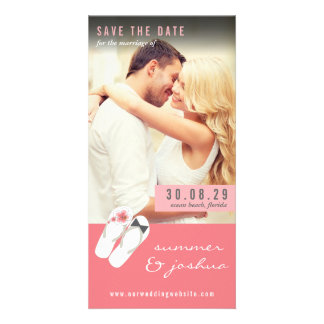 Pink Hibiscus Flip Flops Beach Photo Save The Date Card