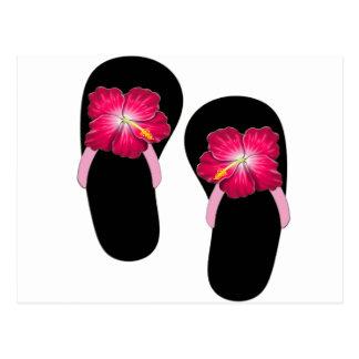Pink Hibiscus Flip Flops Postcard