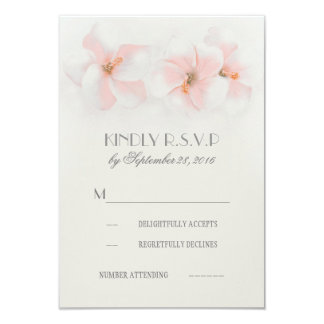 Pink hibiscus floral beach wedding RSVP cards