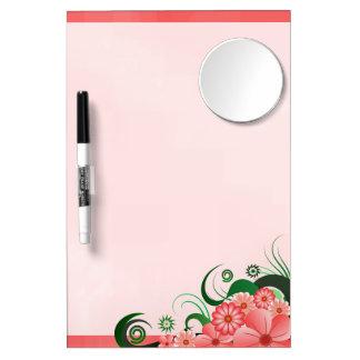 Pink Hibiscus Floral Dry-Erase Board w/ Pen Mirror