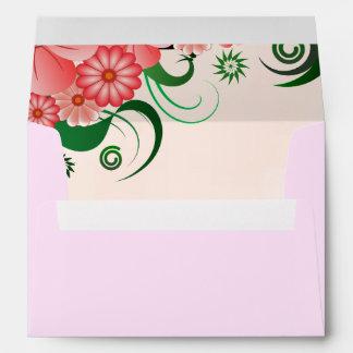 Pink Hibiscus Floral Elegant Custom Envelopes