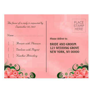 Pink Hibiscus Floral Elegant RSVP Reply Postcards