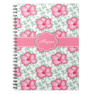 Pink Hibiscus Floral Personalized Journal