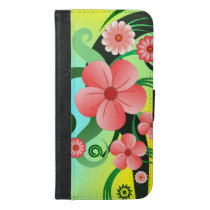Pink Hibiscus Floral Tropical Flowers Folio iPhone 6/6s Plus Wallet Case