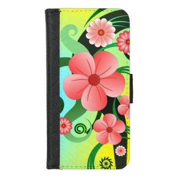 Pink Hibiscus Floral Tropical Flowers Folio iPhone 8/7 Wallet Case