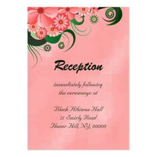 Pink Hibiscus Floral Wedding Enclosure Cards Large Business Cards (Pack Of 100)