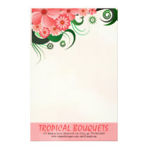 Pink Hibiscus Florist Stationery Writing Paper