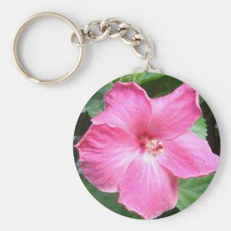 Pink Hibiscus Flower Basic Round Button Keychain