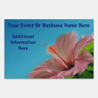 Pink Hibiscus Flower Business Or Event Lawn Sign