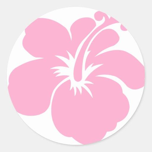 Pink hibiscus flower F Round Sticker