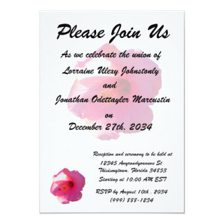 "pink hibiscus flower image 5"" x 7"" invitation card"