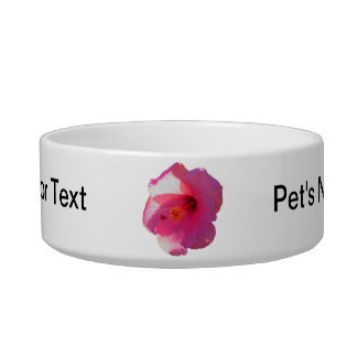 pink hibiscus flower image cat water bowls