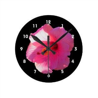 pink hibiscus flower image round clock